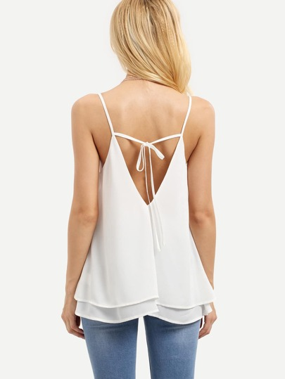 White Spaghetti Strap Tie Back Tank Top