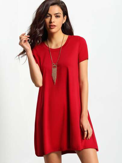 Burgundy Short Sleeve Casual Shift Dress