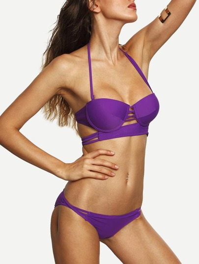 Purple Strappy Cutout Underwire Bikini Set