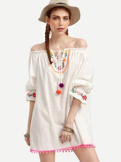 Beige Off The Shoulder Embroidered Shift Dress