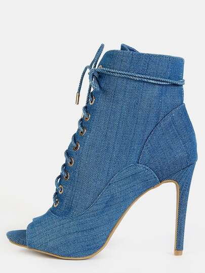 Jean Peep Toe Stiletto Ankle Booties BLUE DENIM