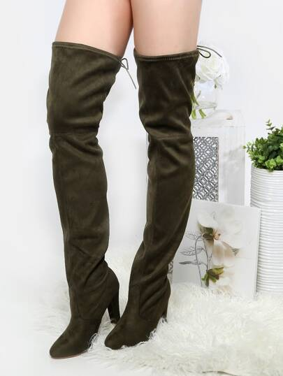 Tie Back Thigh High Thick Heel Boots OLIVE