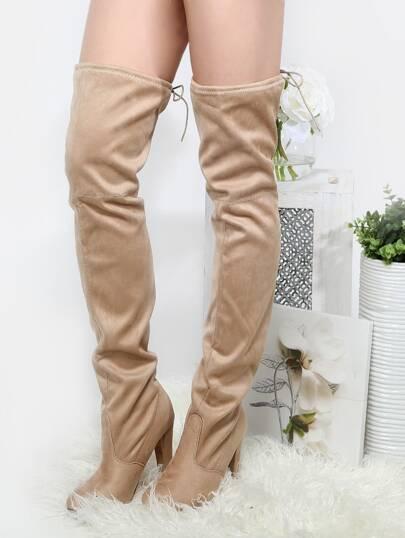 Almond Toe Thigh High Chunky Heel Boots NUDE
