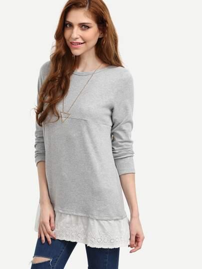 Grey Contrast Lace Hem Dress
