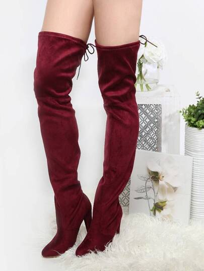 Tie Back Thigh High Chunky Heel Boots BURGUNDY
