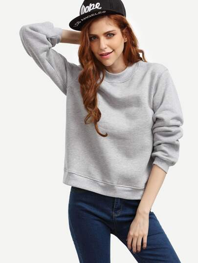 Grey Crew Neck Side Slit Sweatshirt