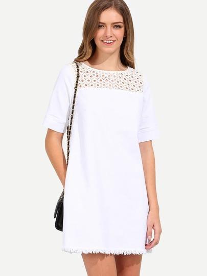 White Short Sleeve Hollow Zip Back Dress