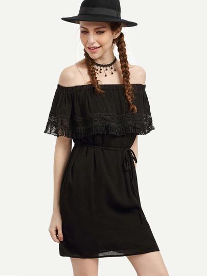 Black Belted Lace Trimmed Off The Shoulder Dress