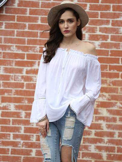 Fluted Sleeve Tie Front Bardot Top