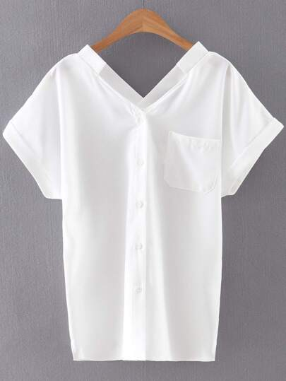 White Roll-up Cuff Buttons Front Pocket Chiffon Blouse