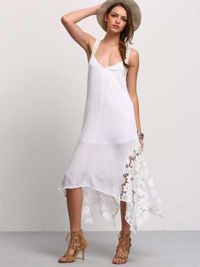 White Backless Lace Splicing Handkercheif Hem Strap Dress