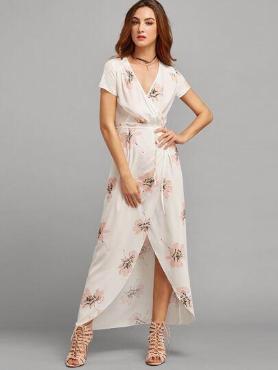 Multicolor Floral Short Sleeve V Neck Split Dress