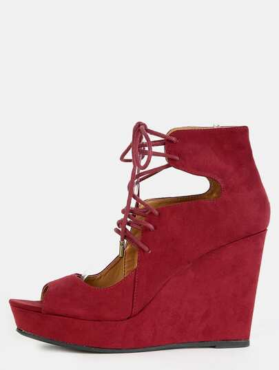 Lace Up Peep Toe Wedges BURGUNDY