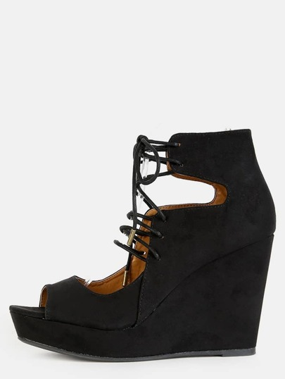 Faux Suede Lace Up Wedges BLACK