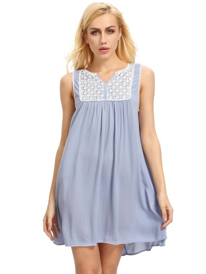 Pink Blue House Sleeveless Embroidered Dress