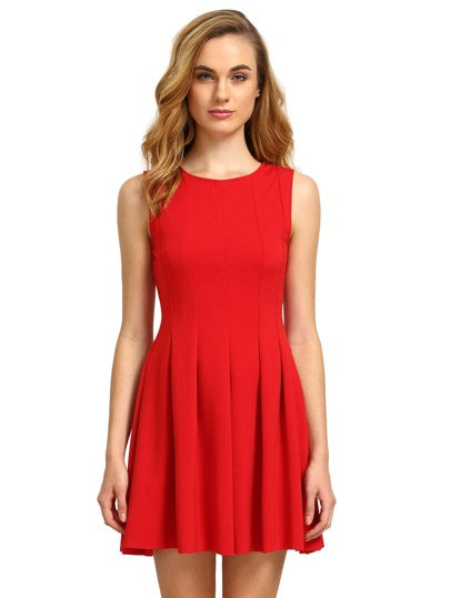 Red Round Neck Sleeveless Pleated Flare Dress