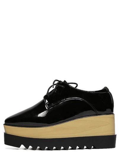Faux Pantent Lace-up Flatform Oxford Wedges