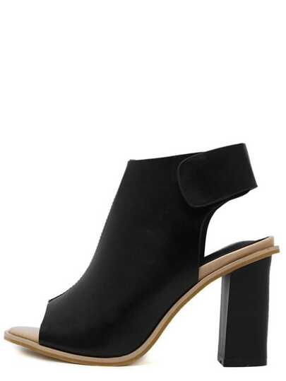 Black Peep Toe Platform Chunky Pumps