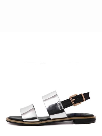 Sandalias metálico abierto -plata
