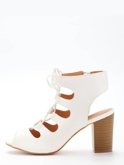 Sandales à talon avec lacets - blanc