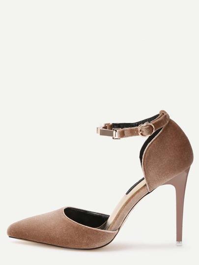 Apricot Faux Suede Ankle Strap High Stiletto Pumps