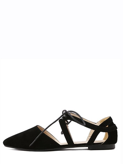 Black Cutout Lace-up D'orsay Flats