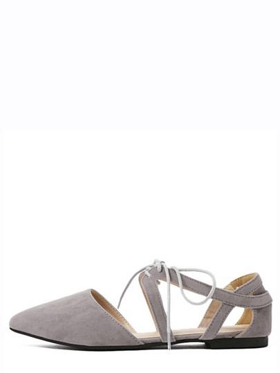 Grey Cutout Lace-up D'orsay Flats