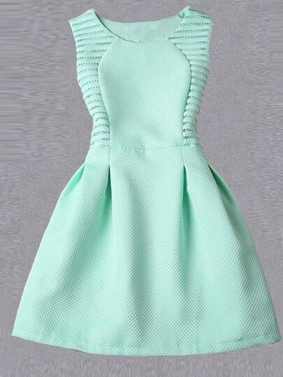 Eyelet Turquoise Sleeveless Flare Dress