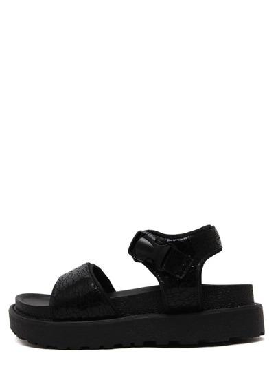 Black Peep Toe Velcro Thick-soled Wedges