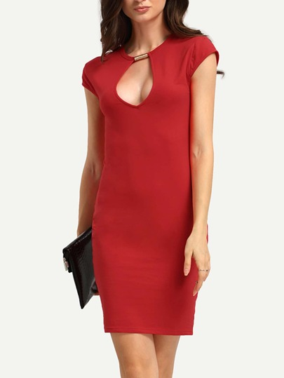 Red Keyhole Neck Short Sleeve Bodycon Dress
