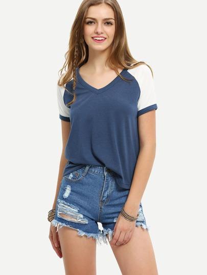 Blue Patchwork White Sleeve V Neck T-shirt