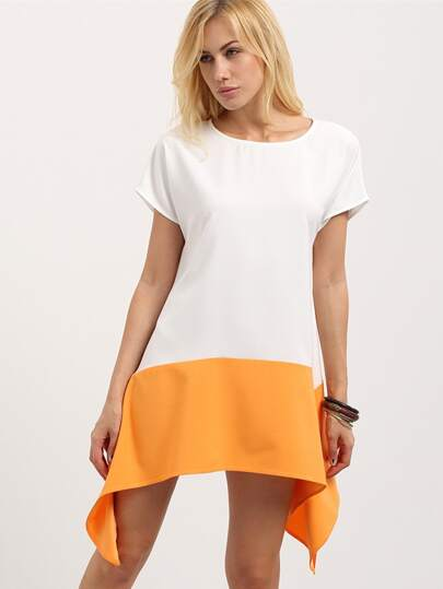 Multicolor Short Sleeve Asymmetrical Dress