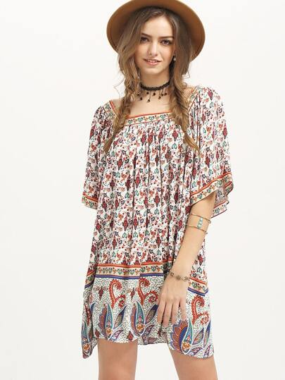 Multicolor Vintage Print Half Sleeve Shift Dress