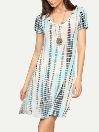 Multicolor Short Sleeve Print Shift Dress