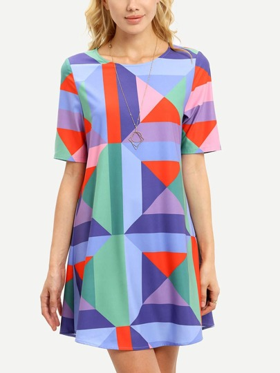 Multicolor Grometric Print Shift Dress