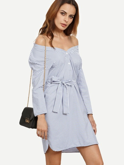 Blue Striped Long Sleeve Tie Dress