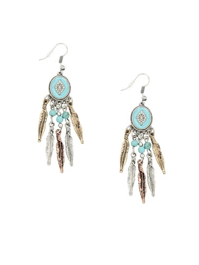 Ethnic Turquoise Leaves Earrings