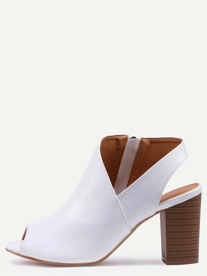 Asymmetric Cut High Vamp Stacked Heel Pumps - White
