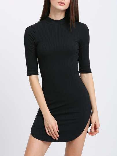 Vestido manga media entallado -negro