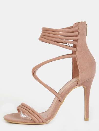 Strappy Single Sole Stiletto Heels TAUPE
