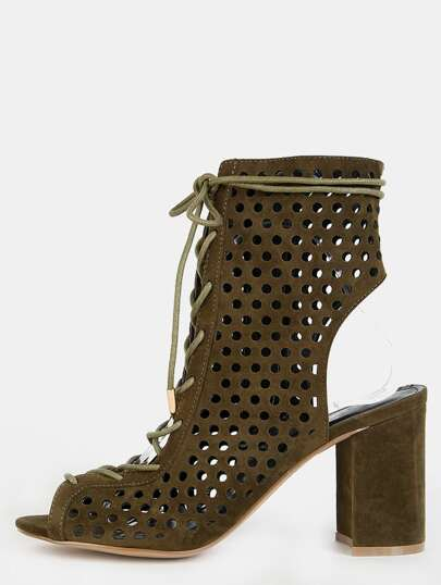 Cut Out Lace Up Ankle Booties OLIVE