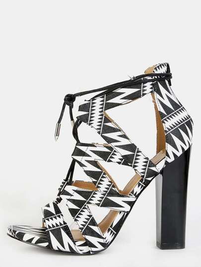 Zig Zag Lace Up Chunky Heels BLACK MULTI