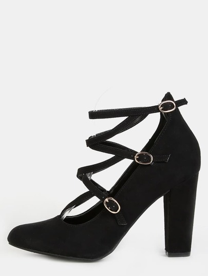 Faux Suede Strappy Chunky Heels BLACK