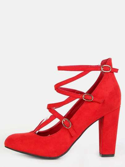 Round Toe Strappy Chunky Heels RED