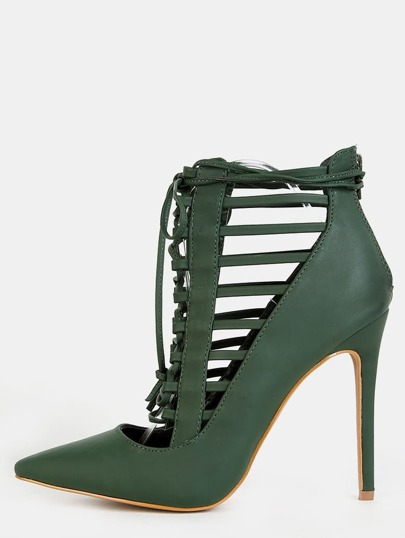 Pointy Toe Caged Stiletto Heels OLIVE
