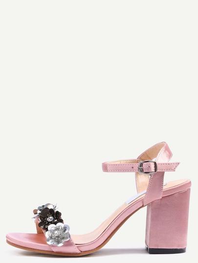 حذاء وردي سميك عالي الكعب باحجار