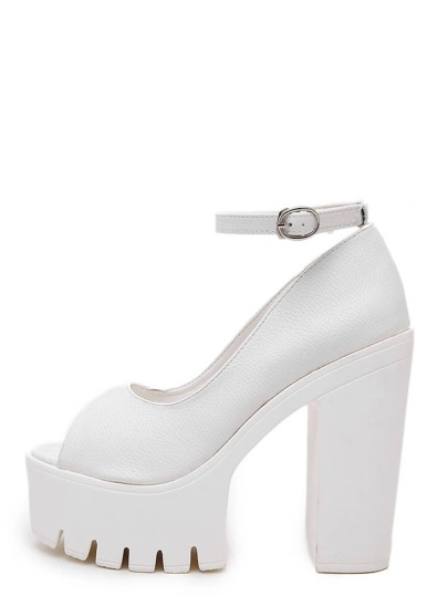 White Open Toe Ankle Strap Mule Chunky Pumps