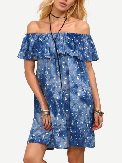 Blue Tie Dye Flounce Off The Shoulder Dress
