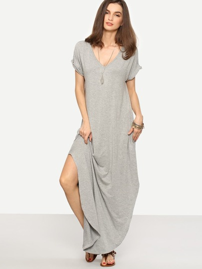 Grey Rolled-cuff Pockets Split Maxi Dress