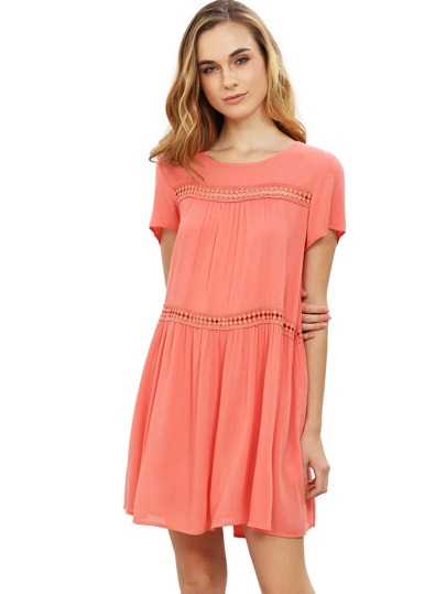 Pink Short Sleeve Shift Dress